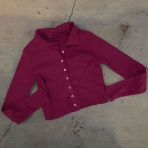 NWD Brandy Melville John Galt Berry Pink Crop Polo